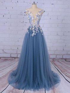 Chic A-line Bateau Blue Applique Modest Long Prom Dress Evening Dress AM575