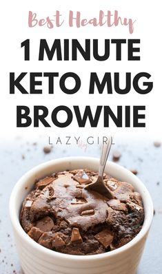 "Best Healthy 1 Minute Keto Mug Brownie This easy 1 minute mug brownie recipe is a low carb game changer. It takes practically no time to make, it's legitimately as delicious as the ""real"" thing, and it only has 3 net carbs... #keto #ketodiet #ketorecipes #ketodessert"