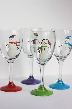 Snowmen Wine Glasses / Set of 4. $48.00, via Etsy.