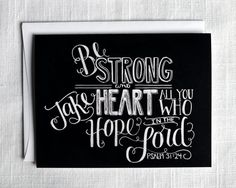 Psalm 31 Courage Card Encouragement Card Bible by TheWhiteLime, $3.50