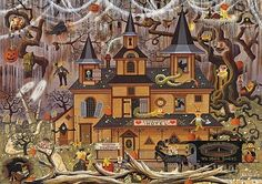 The Sweetheart Hotel by Charles Wysocki.he did several Halloween scenes.this is one I would frame or would like to see on a party invitation Halloween Pictures, Halloween Art, Holidays Halloween, Vintage Halloween, Happy Halloween, Halloween House, Halloween 2018, Halloween Puzzles, Halloween Painting