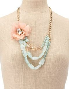 My Style / Charlotte Russe - Turquoise Bead Blossom Necklace