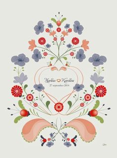 Modern kurbits with Swedish Flax flowers / wedding gift / Made by Tinterova