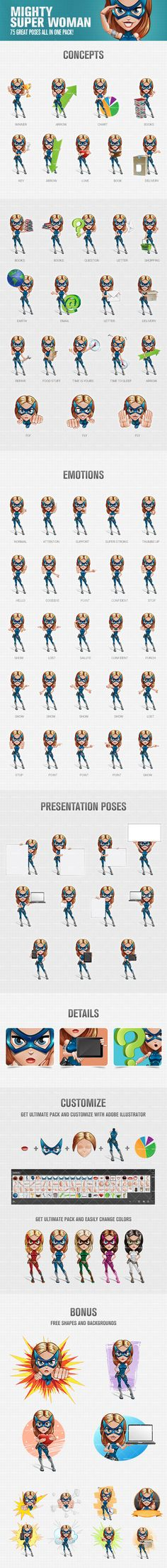 Mighty super woman cartoon character made in 75 great poses. We've made a cheerful and friendly mighty super woman that could really liven up your projects! Continue reading →