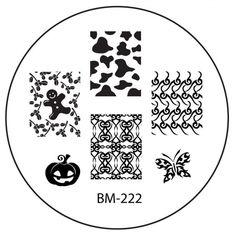 Series 2 Nail Stamping Plate BM222 - Gingerbread man + Jack-o-Lantern