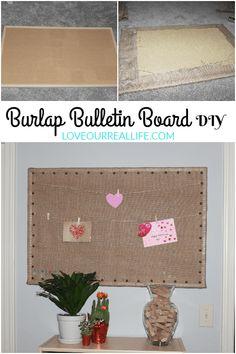 Burlap Bulletin Board, bulletin board DIY