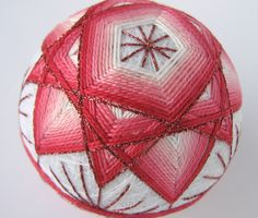 decorative ball home decor - hand embroidered - japanese temari thread ball - pretty in pink. $45.00, via Etsy.