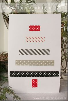 Washi Tape Christmas Card--would be fun for gift labels too! :) #Christmas #washitape #giftwrap