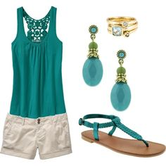 Turquoise...i have a blouse in a coral color that's similar...i wear it with a crocheted shrug.