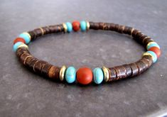 Men's Bracelet Wrist Mala Bracelet Wood Bracelet Turquoise Bracelet Healing Bracelet Surfer Bracelet Men's Gift for Him Boho Jewelry Surfer Bracelets, Ankle Bracelets, Bracelets For Men, Metal Beads, Brass Metal, Beaded Jewelry, Beaded Bracelets, Men's Jewelry, Jewelry Making