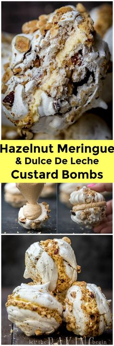 Hazelnut Meringue Bomb - Combination of Crunchy Hazelnut Meringue and Dulce De Leche Custard Buttercream creates an explosion of flavor, that is going to be a memorable dessert experience. Believe me!