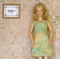 12 inch doll clothes Colorful knit dress for Barbie by KnittyforB