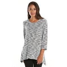 Sag Harbor Marled Sharkbite Hem Scoopneck Sweater - Women's