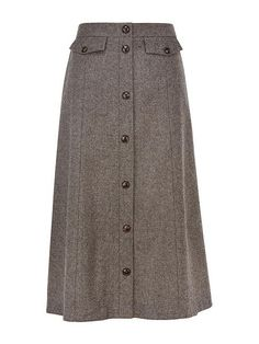 Tweed Button Detail Skirt