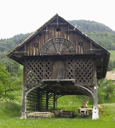 A kozolec is a traditional Slovenian hayrick and you'll see them as you cycle through the countryside