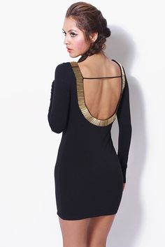 1015store.com-[Limited Edition] Bejeweled backless long sleeve mini dress-$15.00