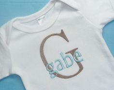 Baby Boy Custom Monogrammed Onesie or Gown - Initial and Name - Newborn thru 12 months - CHOOSE THREAD COLORS. $25.50, via Etsy.
