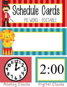 CIRCUS Theme Classroom Decor / Schedule Cards / editable / 24 designs/ Analog and Digital Clocks / ARTrageous FUN Circus Theme Classroom, Future Classroom, Classroom Decor, Preschool Rooms, Preschool Classroom, Classroom Activities, Toddler Activities, Circus Decorations, Carnival Themes