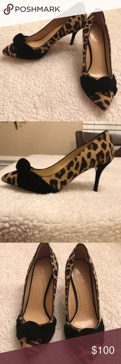 Charlotte Olympia heels Leopard Print heels with black velvet bow. These heels are hot and sassy Girl!  Only worn One time! In EXCELLENT condition! Charlotte Olympia Shoes Heels