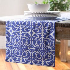 Priscilla Runner, Blue | A touch of color provides a beautiful finish to a dinner presentation. 100% cotton. Machine washable.