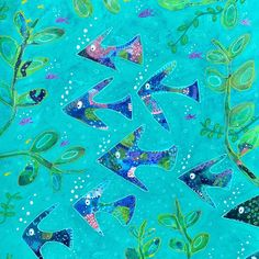 """Anna Just on Instagram: """"Quirky tropical fish!🐠🐠🐡 Mixed media artwork on paper. #fishpainting #quirkyfish #annajustart #mixedmediaonpaper #paintingoftheday🎨…"""""""