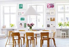 White Dining Room Design Ideas with White Dining Table Wooden Chairs and Triangle Pendant Lamp White Dining Table, Interior, Home, Casual Dining Room Designs, Dining Room Design, Family Living, Beautiful Dining Rooms, Scandinavian Style Chairs, White Rooms