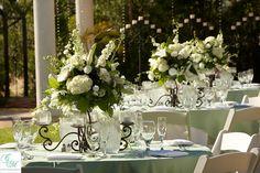 shorter iron candleabras/flower holders