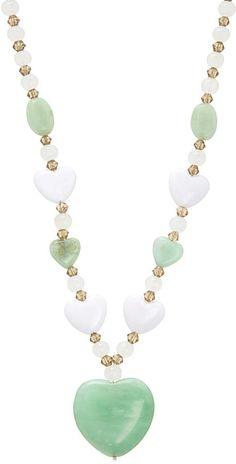 Amazonite Green Heart Pendant Necklace #ad