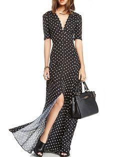 Polka Dot Awesome V Neck Maxi Dress #ClothingOnline #PlusSizeWomensClothing #CheapClothing #FashionClothing #womenswear #sexydress #womensdress #womenfashioncasual #womensfashionforwork  #fashion #womensfashionwinter