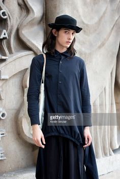 Model Louis Kurihara wears Limi Feu with Y's bag, and Vintage hat on day 5 of Paris Fashion Week Menswear Spring/Summer 2016 on June 28, 2015 in Paris, France.