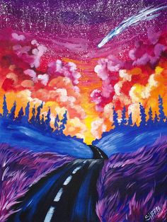 "Beginners learn to paint full acrylic art lesson "" Road of Dreams"" YOU CAN PAINT this. This is an EASY and FUN painting of a Road and Dreamscape Sunset with A shooting star. I will show you how to get better Clouds and Spectacular skies. Every Step of the painting with be fully explained for NEW PAINTERS. www.theartsherpa.com"