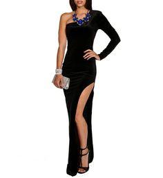 Mili- Black Single Sleeve Velvet Long Dress