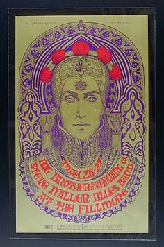 Fillmore Poster  Big Brother and the Holding Co, Steve Miller Blues Band