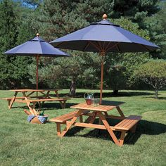 Merveilleux Teak Wood Picnic Table With Umbrella Hole   Larchmont Picnic Table    Country Casual
