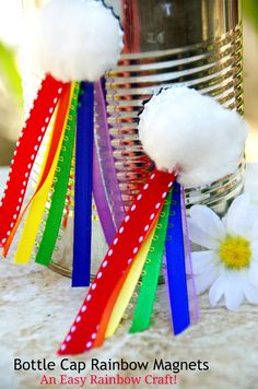 Want an easy rainbow craft to celebrate spring? Love bottle cap crafts? Bottle cap rainbow magnets are an upcycled craft that is fun for kids or adults.