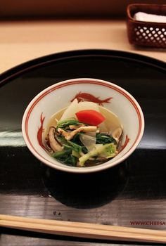 Japanese Cuisine: Simmered Winter Vegetables (Kyoto Daikon, Red Carrot, Shiitake and other Mushrooms in Season)|冬野菜の炊き合わせ