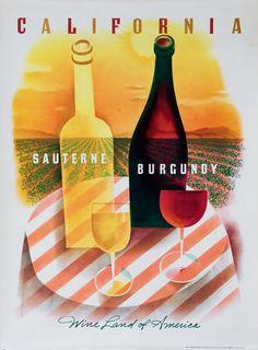 1958 California Wines vintage advert poster