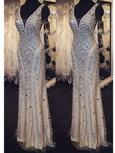 Long Custom prom dress, Rhinestones prom dress, V-Neck