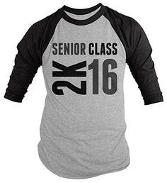 Shirts By Sarah Men\'s Senior Class 2K 16 2016 Seniors 3/4 Sleeve Raglan Shirt