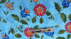Light Blue Background with Red and BlueFlower Power by tessimal, $12.00