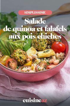 Cette recette de salade de quinoa et falafels aux pois chiches est idéale pour les amateurs de légumes secs. #recette#cuisine #salade #quinoa #poischiches #falafel Falafels, Potato Salad, Potatoes, Ethnic Recipes, Food, Quinoa Salad, Chopped Salads, Chickpeas, Falafel