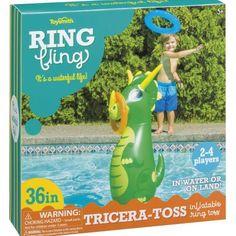 Tricera-Toss Inflatable Pool Ring Toss $19.99  Description Challenge your family and friends to see who will score the most! Fling a ring and aim for one of the three triceratops's horns The inflatable Dino has a weighted bottom for stability for Land or water play Includes a 36″ Tall inflatable Triceratops, 2 – 10″ Inflatable blue rings and 2 – 10″ Inflatable orange rings Recommended for age 5 years and up and can be played with Orange Rings, Blue Rings, Dinosaur Toys For Kids, Dinosaurs, Ring Toss, Water Play, Tossed, Vintage Style Outfits, Prehistoric