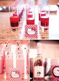 Hello kitty kiddy non alcoholic drinks for the kiddos at your wedding. Gorgeous Glam Pink Hello Kitty Party // Hostess with the Mostess®
