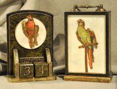 Мини-комод и вечный календарь  `Зелёный попугай`,декупаж Кисель Вероника