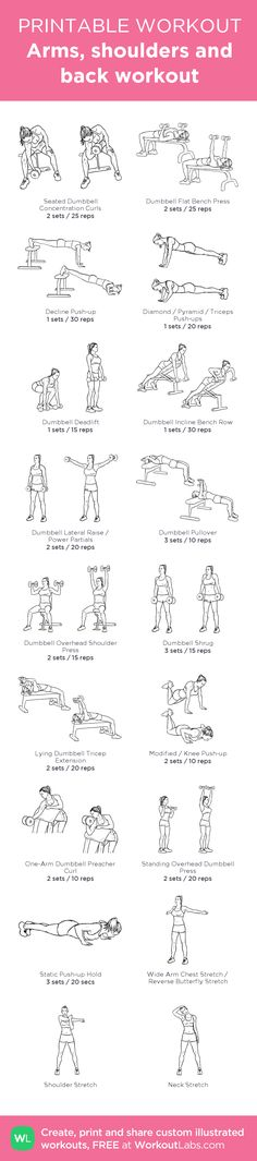 Arms, shoulders and back workout:my visual workout created at WorkoutLabs.com • Click through to customize and download as a FREE PDF! #customworkout