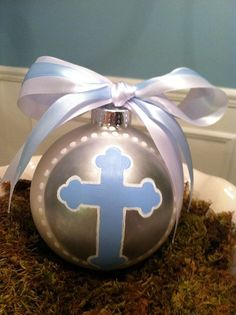 Cross baptism ornament or baby dedication with name and date
