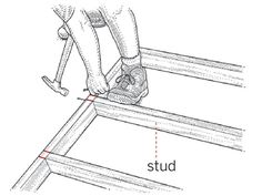 labeled illustration showing someone standing over a stud wall being built on the floor, hammering two nails into the plates into the stud
