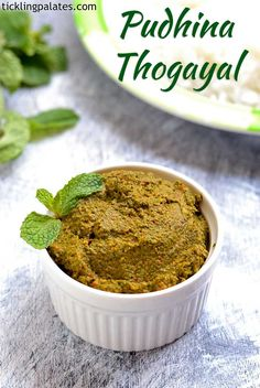 Pudina thogayal recipe with step by step photos. Pudina thogayal using mint leaves made with or without coconut served as side dish with idli or rice Mint Recipes, Veg Recipes, Indian Food Recipes, Vegetarian Recipes, Cooking Recipes, Recipies, Indian Vegetarian Dishes, Indian Dishes, Indian Pickle Recipe