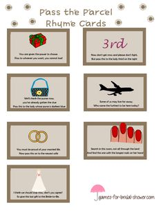 free printable pass the parcel bridal shower game cards