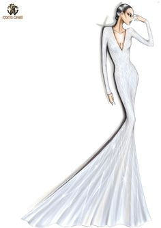 Sketch of the ivory Roberto Cavalli Atelier embellished gown worn by Lady Gaga in London! Dress Illustration, Fashion Illustration Dresses, Beauty Illustration, Fashion Illustrations, Fashion Art, Vintage Fashion, Embellished Gown, Fashion Design Sketches, Fashion Drawings